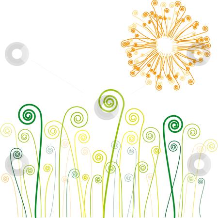 Sun and grass swirls stock vector.