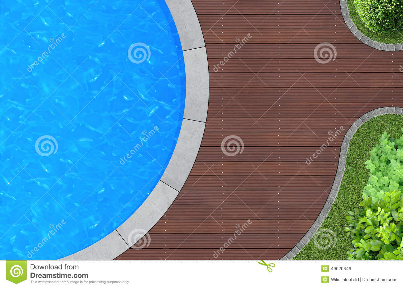 Yard Lawn Green Grass And Ornamental Pool Stock Images.
