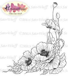 Poppies Digital Stamp Clip Art, Flower Stamp, Hand Drawn Stamp.