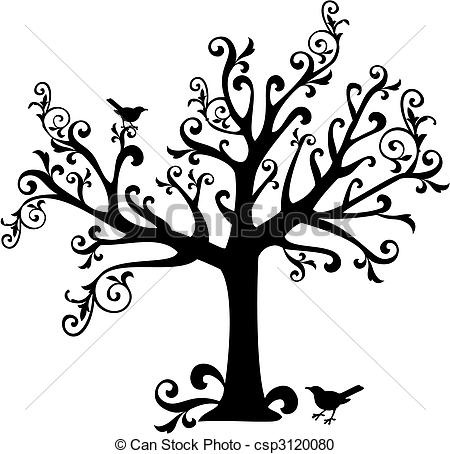 Vector Clipart of tree with swirls.