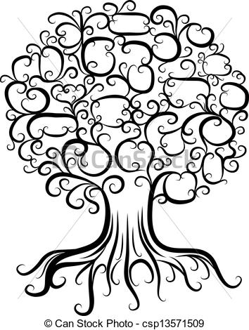 Vector Clipart of Ornamental tree with roots for your design.
