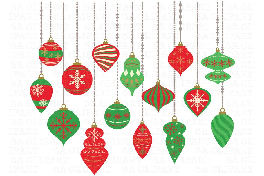 Christmas Ornaments ClipArt Crs024c.