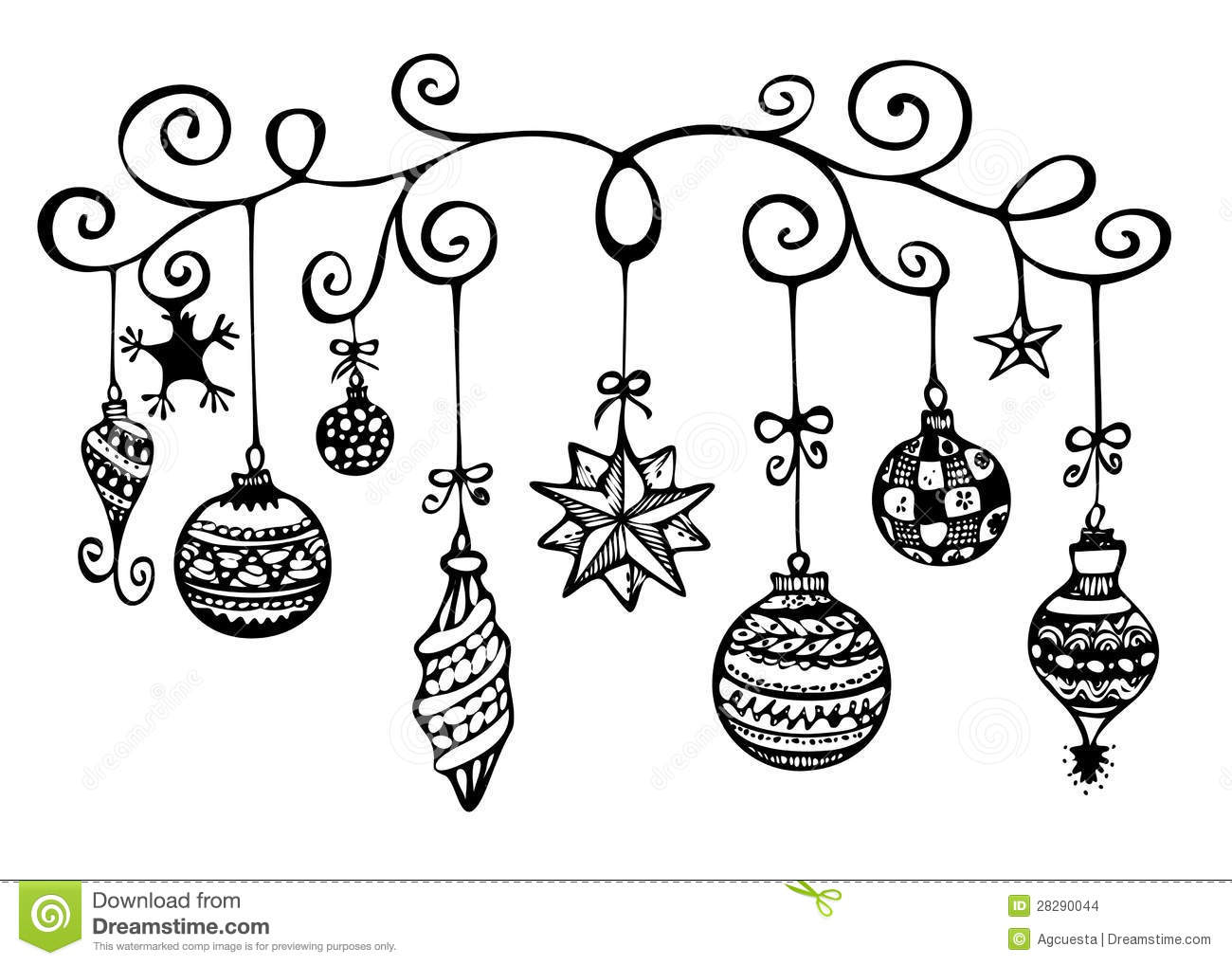 Christmas ornaments clipart black and white 3 » Clipart Station.