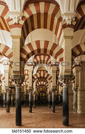 """Stock Photography of """"Ornate arches in mosque, Cordoba, Andalusia."""