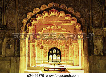 Stock Photograph of Ornate walls inside a fort, Red Fort, New.