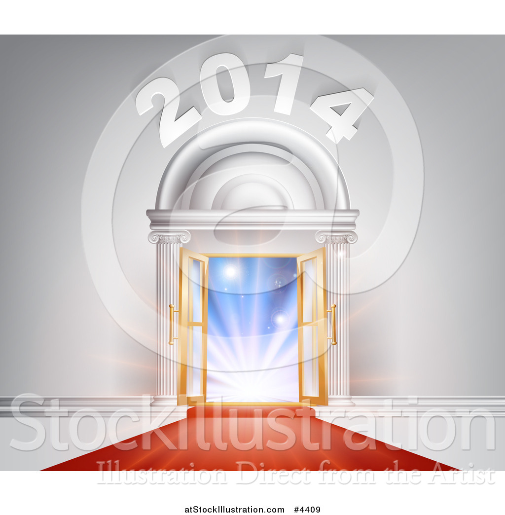 Vector Illustration of a Red Carpet Leading to an Ornate 2014 Arch.