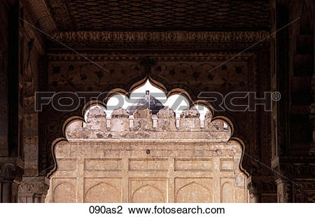 Stock Photo of Ornate Arch at Red Fort Delhi India Asia 090as2.