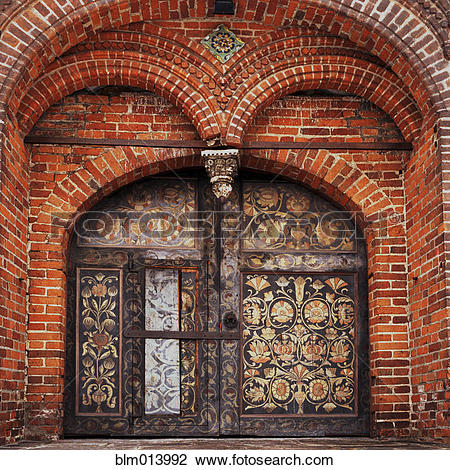 Stock Photo of Ornate arches over cathedral doors blm013992.