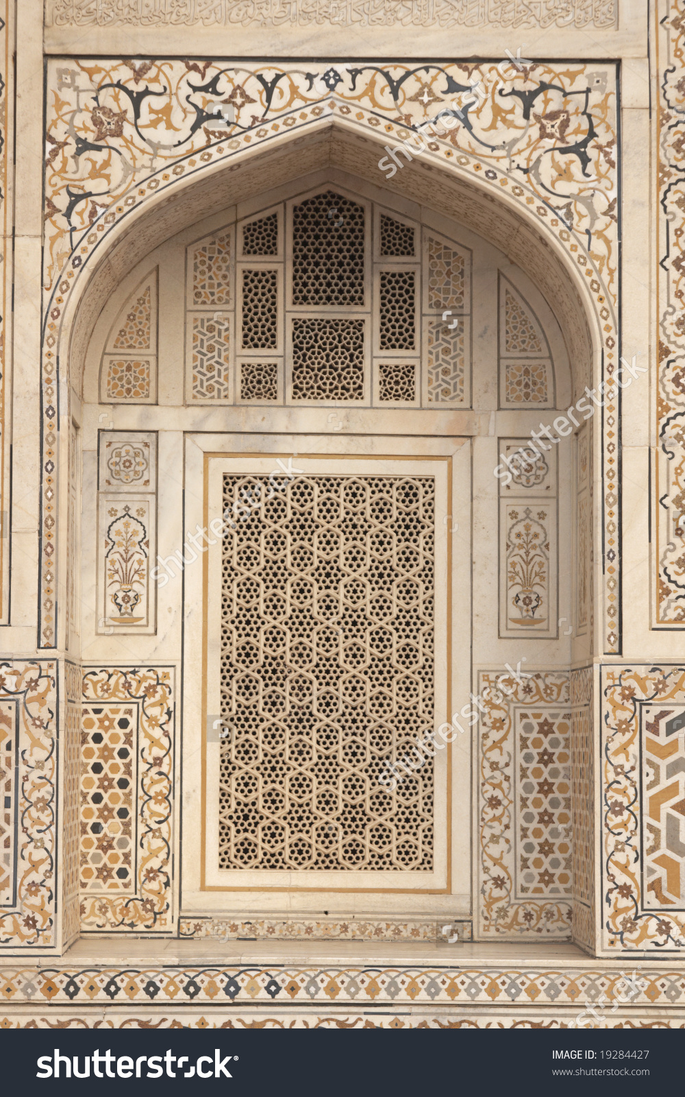 Window Arch Ornate White Marble Mughal Stock Photo 19284427.