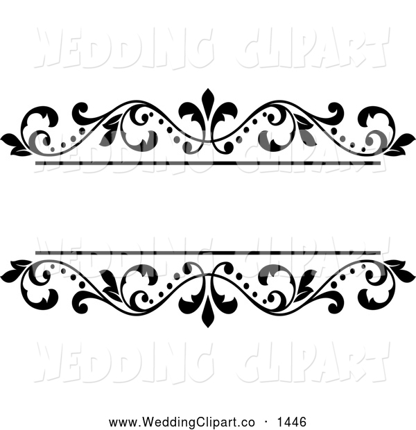 Vector Marriage Clipart of a Black and White Ornate Floral Wedding.