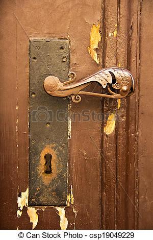 Stock Photo of Ol ornate door handle.