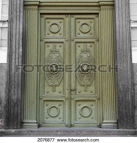 Picture of Ornate design on green doors; st. petersburg russia.