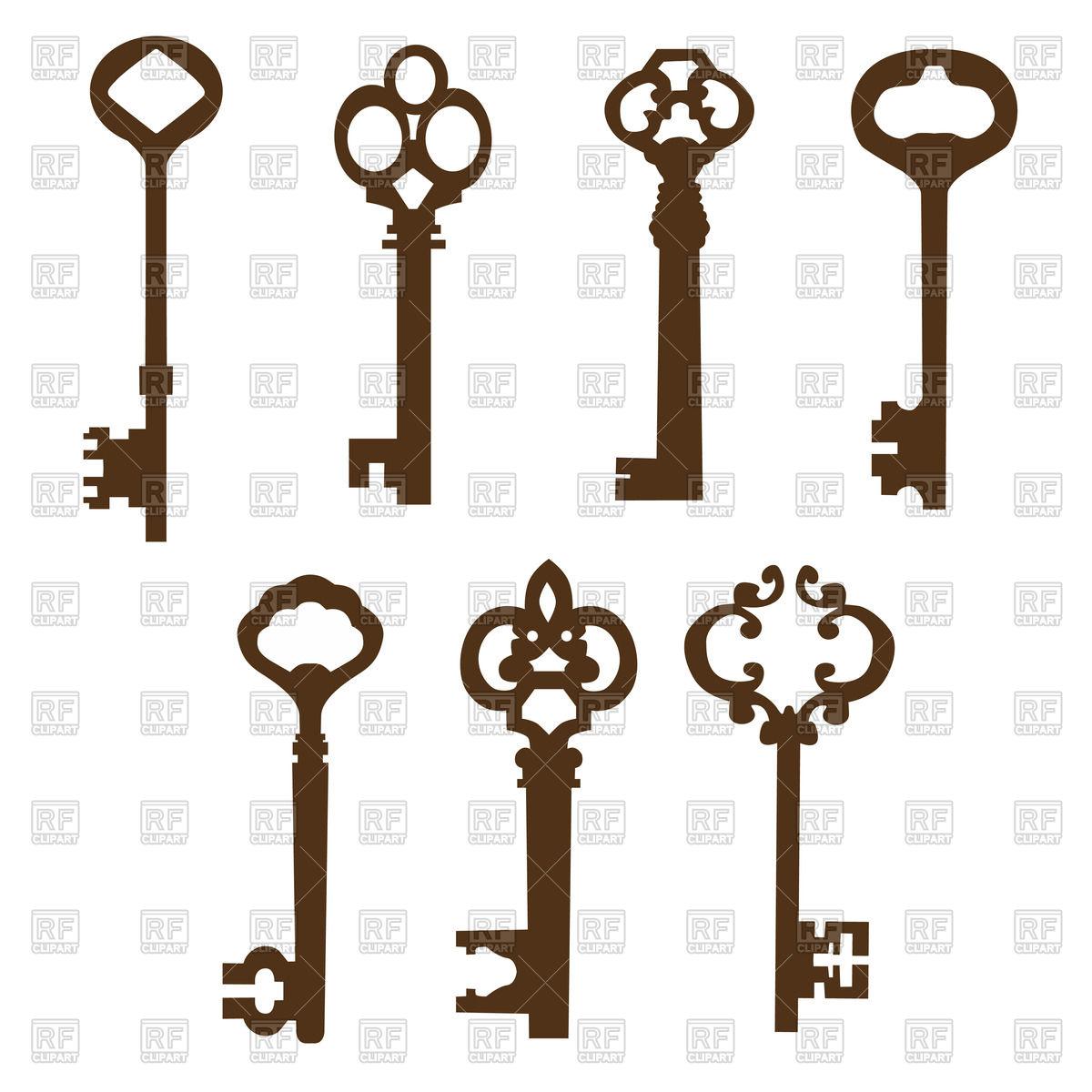 Silhouettes of vintage door keys with ornate handles Vector Image.