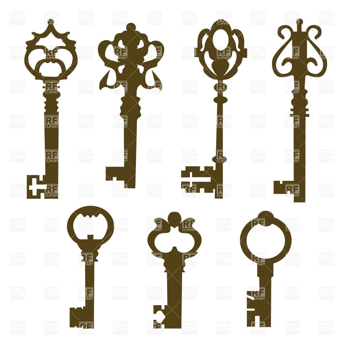 Silhouettes of vintage elegant door keys with ornate, beautiful.