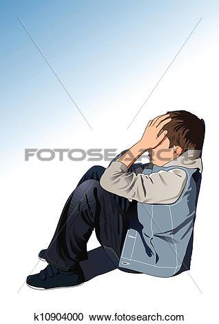Clipart of Sad kid k10904000.