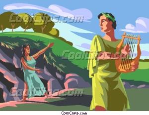 Orpheus plays his lyre Vector Clip art.