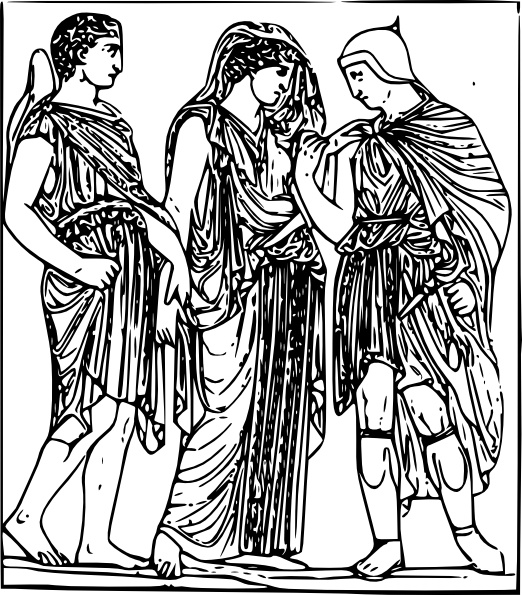 Hermes Orpheus And Eurydice clip art Free vector in Open office.