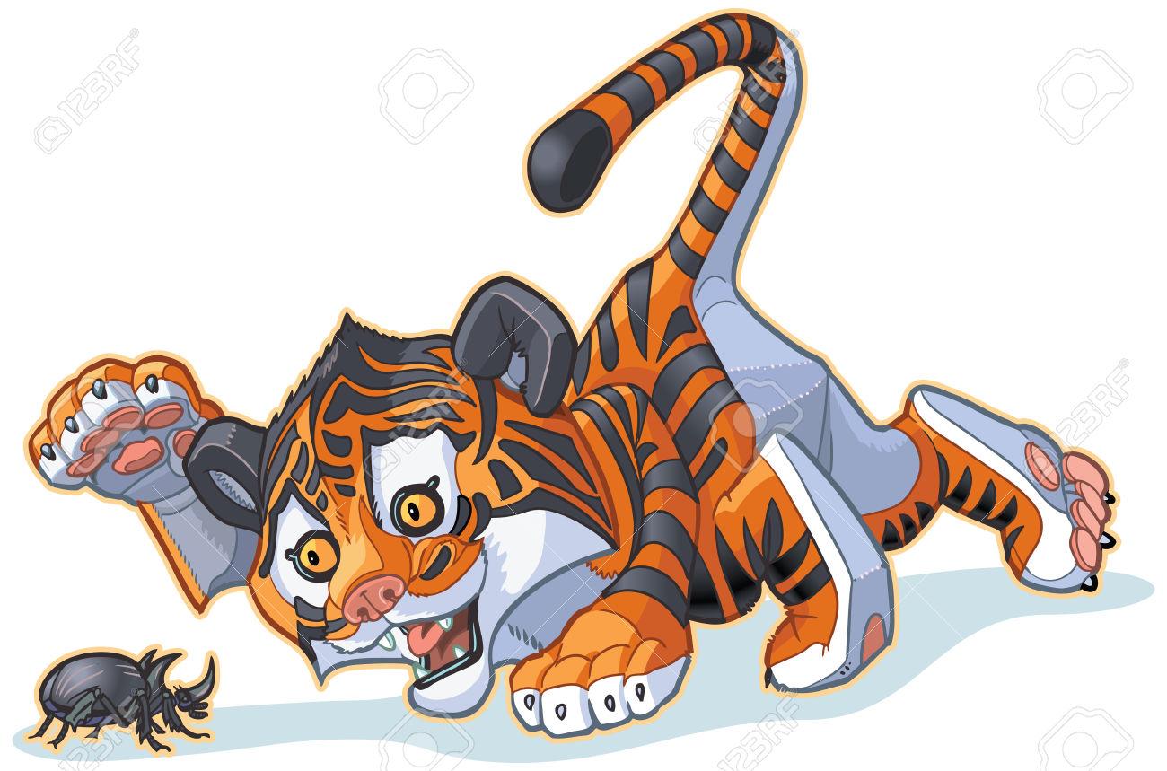 Vector Cartoon Clip Art Illusztráció Egy Aranyos Tiger Cub Játék.