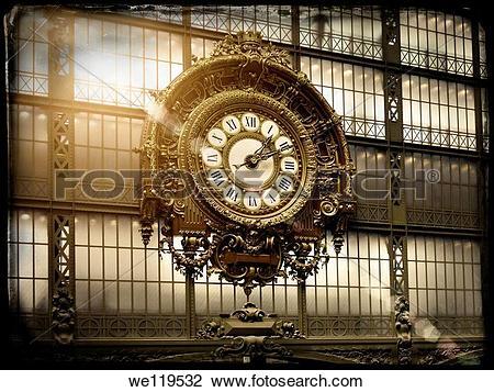 Stock Photo of Vintage Paris Postcard: Mus?e d?Orsay Clock, Victor.