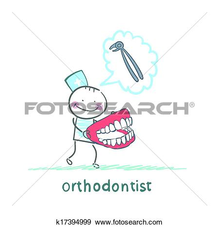 Clipart of orthodontist with a tool for thinking about pulling out.