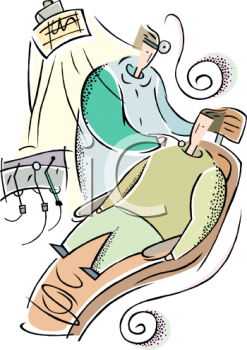 Royalty Free Clipart Image: Orthodontist and His Patient.