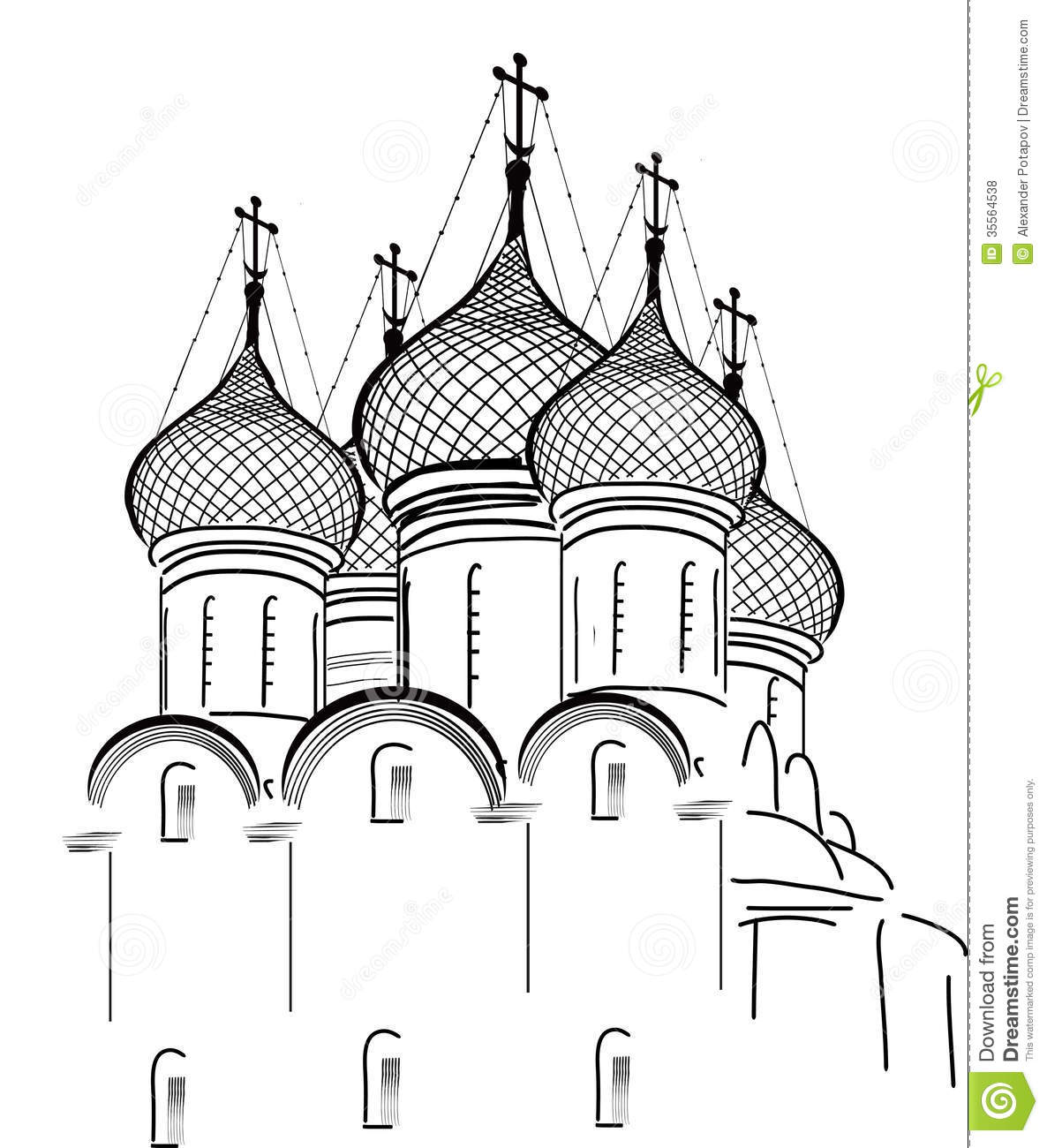 Isolated On White Orthodox Church Sketch Royalty Free Stock Photos.