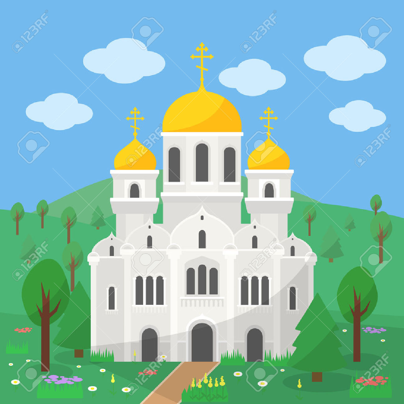Orthodox Church, The Image Of The Church With Gold Domes On The.