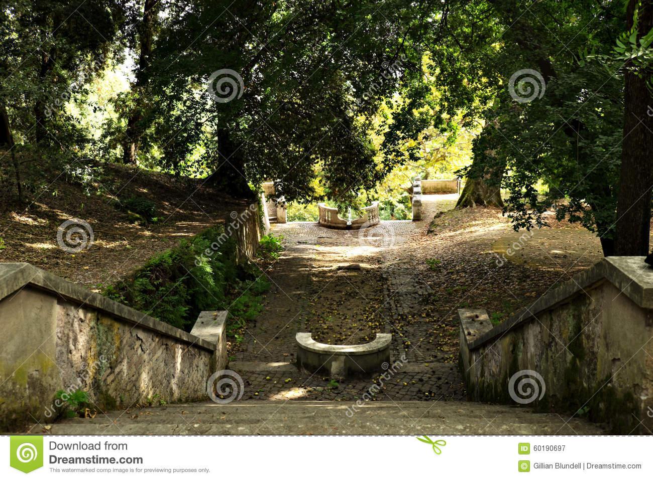 Fountain At The Botanic Garden (Orto Botanico),Trastevere, Rome.
