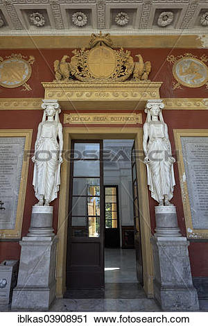 """Stock Photography of """"Neoclassical portal of the former gymnasium."""