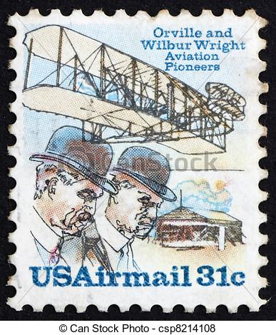 Pictures of Postage stamp USA 1978 Orville and Wilbur Wright.