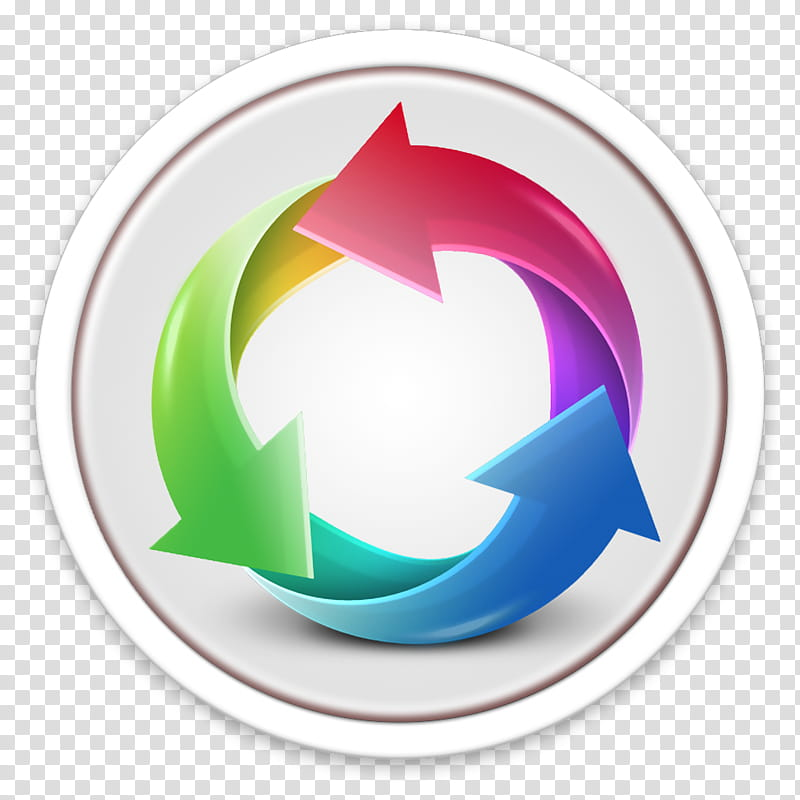 ORB OS X Icon, red, blue, and green recycle logo transparent.