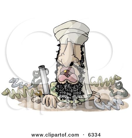 Arab Criminal (Usama bin Laden) Hiding In a Cave Clipart.