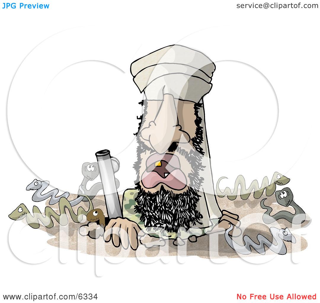 Osama Bin Hidin' Clipart Illustration by Dennis Cox #6334.