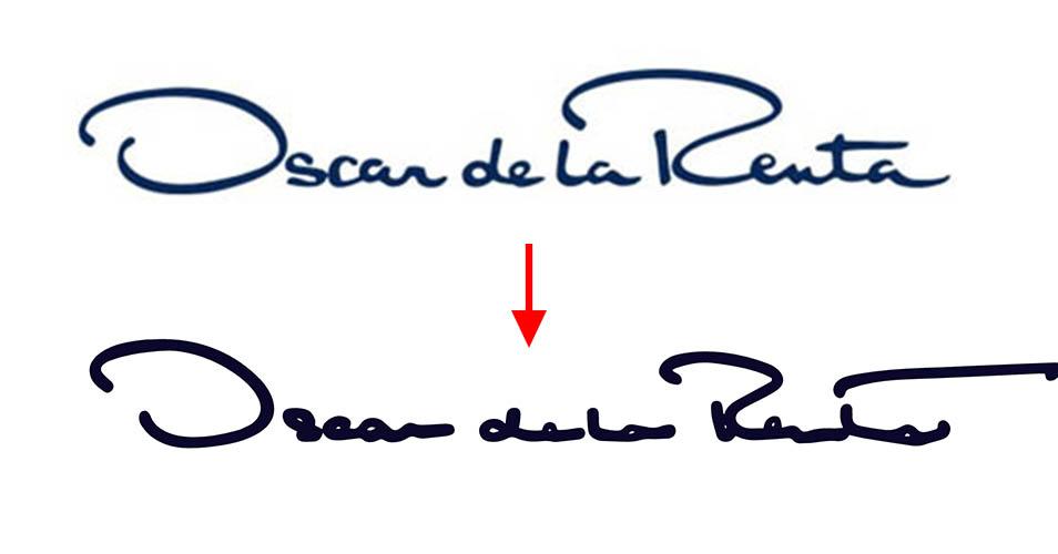 El nuevo logo de Oscar de La Renta no se lee, cometiendo un.