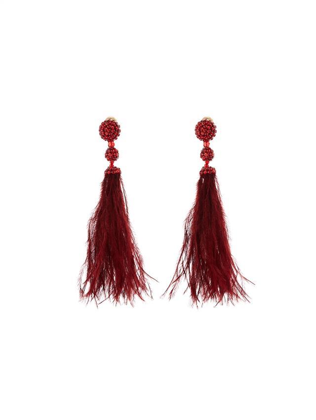 Beaded Feather Earrings.