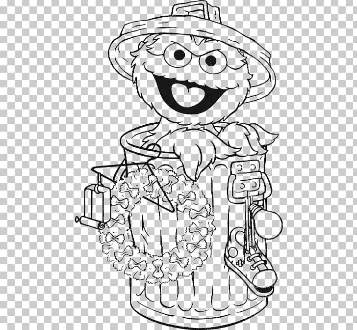 Oscar The Grouch Elmo Big Bird Coloring Book Drawing PNG.