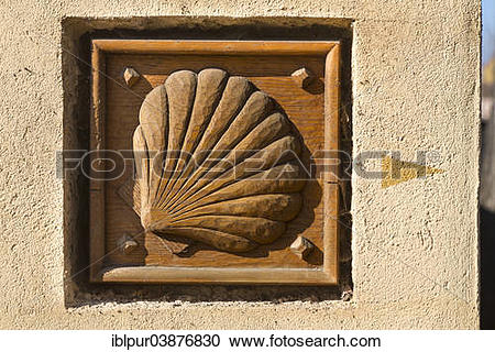 """Stock Photography of """"Wooden sign of a scallop, Via Regia."""