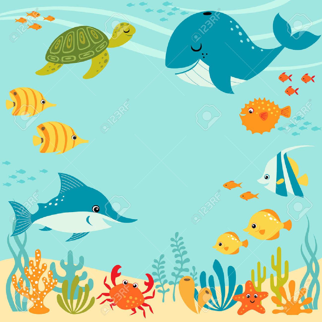 Underwater ocean clipart.
