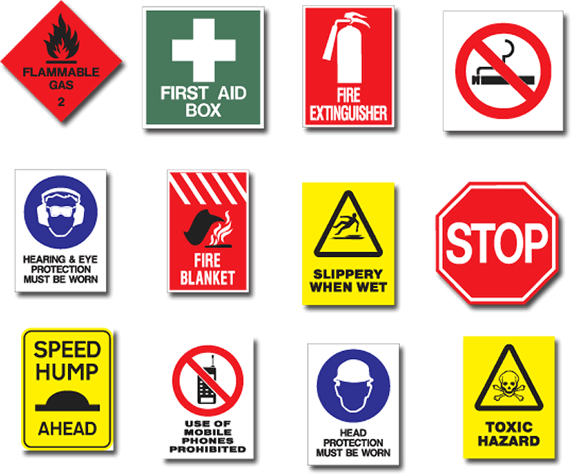 Learning about health and safety signs.