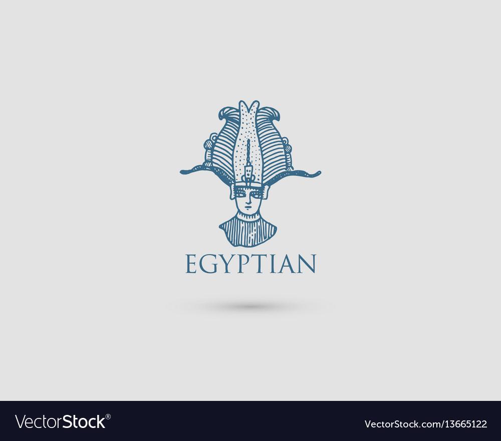 Egyptian logo with symbol pharaon osiris of.