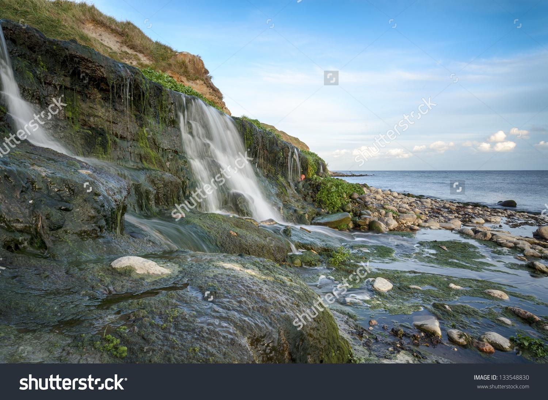 The Beach And Waterfall At Osmington Mills Near Weymouth On.