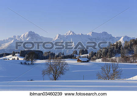 "Stock Photograph of ""Winter landscape with the Tannheim Mountains."