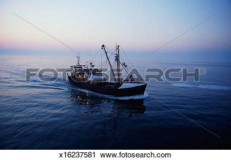 Stock Photography of Belgium, Ostend, fishing boat in North Sea at.