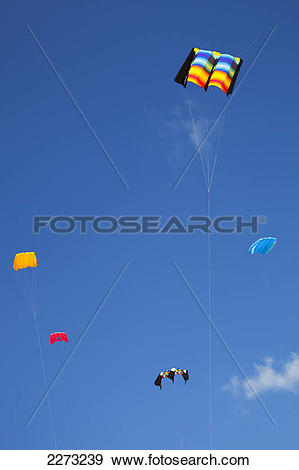 Stock Photograph of Kites flying against a blue sky for the.