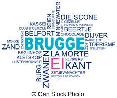Clip Art Vector of word cloud around ostend, city in belgium.