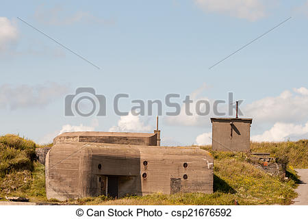 Stock Photographs of German WWII bunker in the dunes of Ostend.