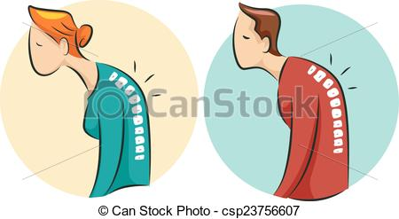 Vector Clipart of Icons Man Woman Osteoporosis.