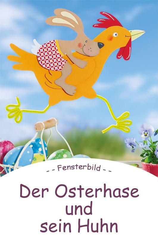 Osterhasen basteln: Der Osterhase und sein Reithuhn.