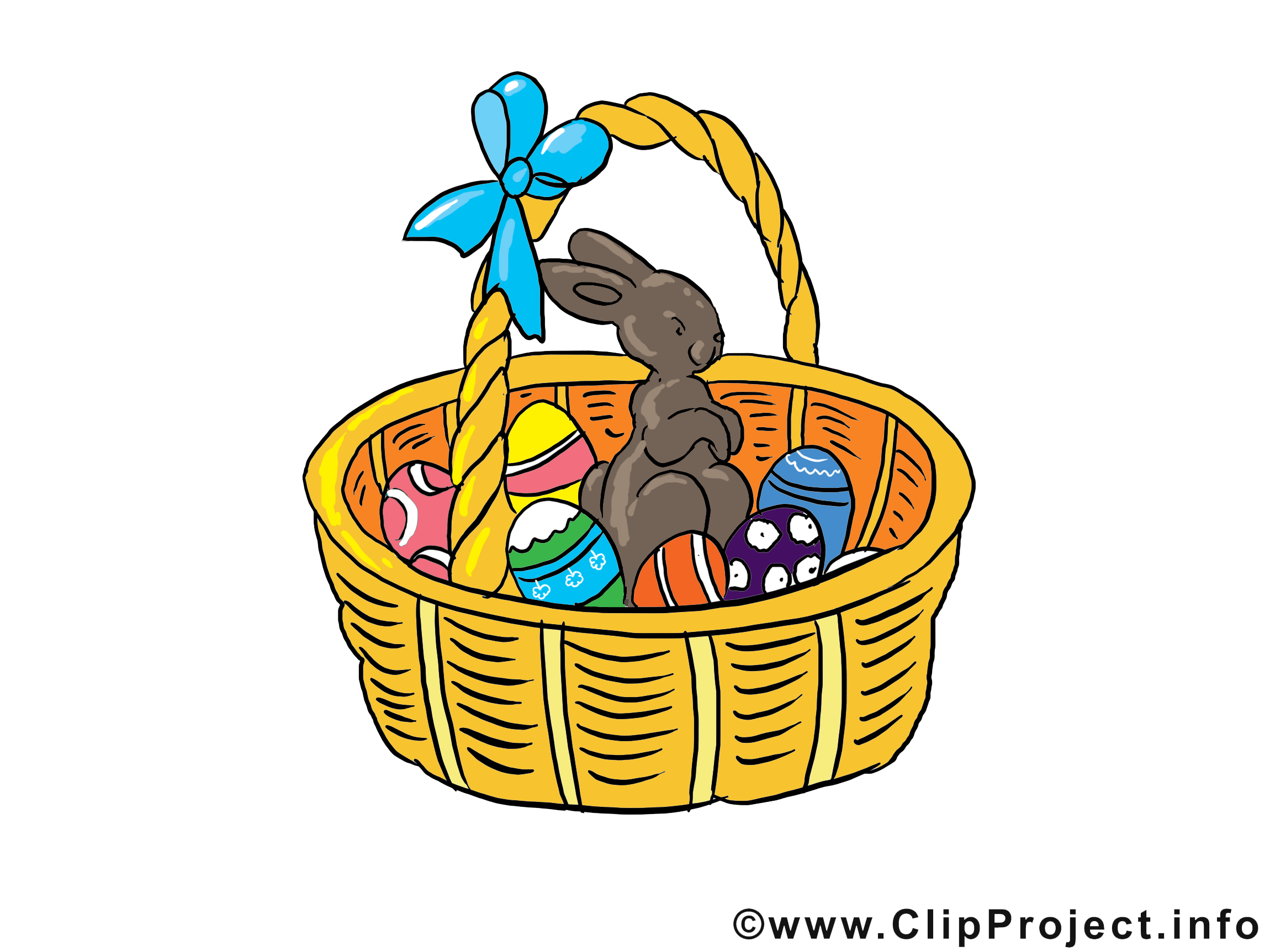 Osterkorb Clipart, Bild, Grusskarte, Illustration.