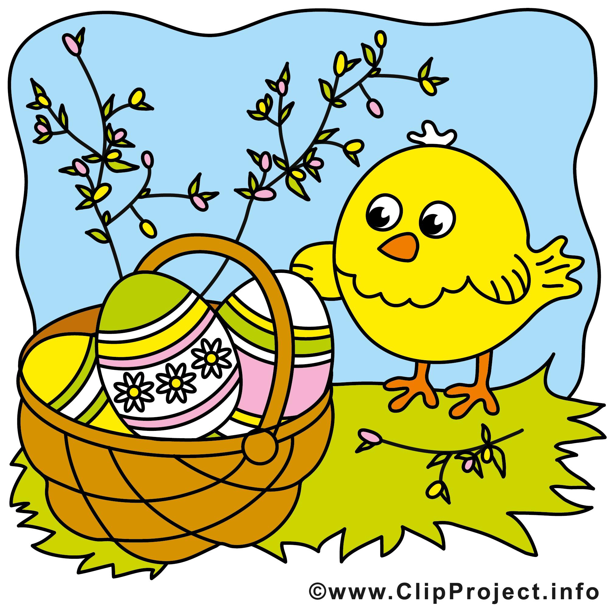 Osterkorb mit Ostereier Clipart.
